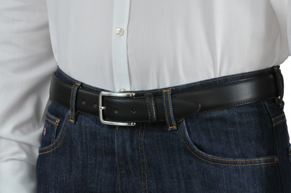 Schwarzer Ledergürtel 35 mm breit