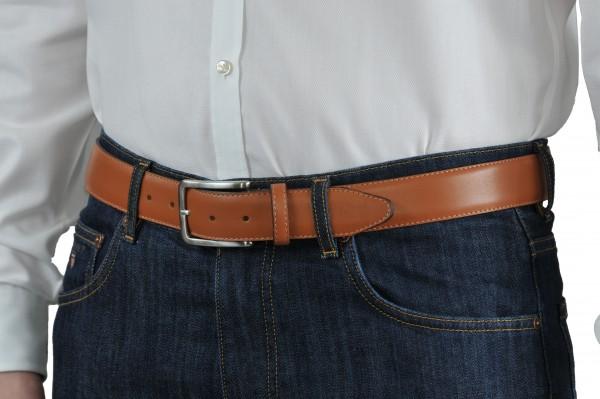 Hellbrauner Ledergürtel 35 mm breit